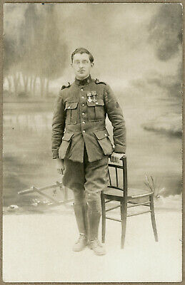 Decorated WW I Belgium Army Cyclist RPPC Postcard, circa 1917