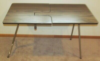 Vintage Mid Century Folding Two Tier Sewing Craft Table /  Work Station