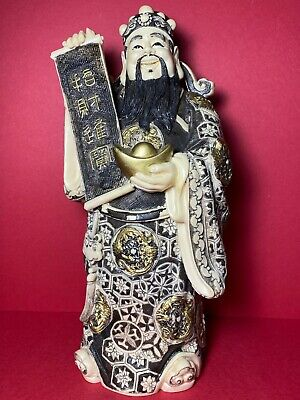 Chinese Deity God Figurine Statue God of Wealth Holding Scroll and Gold Ignot
