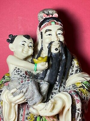 Chinese Deity God Figurine Statue God of Wealth/Good Fortune Holding Child