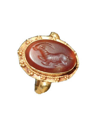 Ancient Greek Solid 14KT+ Gold Electrum Ring W/ Red Carnelian Intaglio Gazelle?
