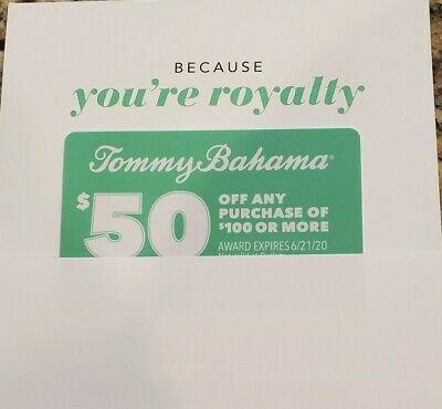 Tommy Bahama $50 Off Any Purchase of $100 Or More Coupon Expires June 21, 2020