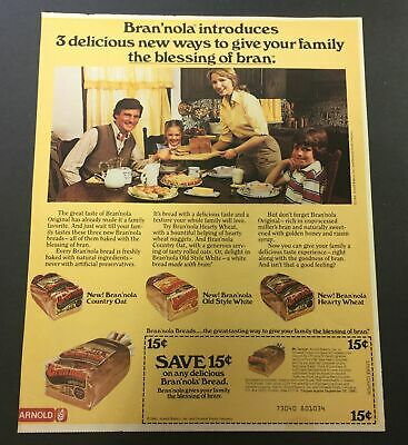VTG 1981 Bran'nola Country Oat, Old Style White & Hearty Wheat Bread Ad Coupon