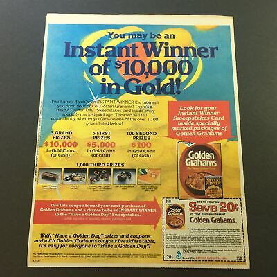 VTG 1982 Golden Grahams The Honey Graham Cereal Sweepstakes Print Ad Coupon