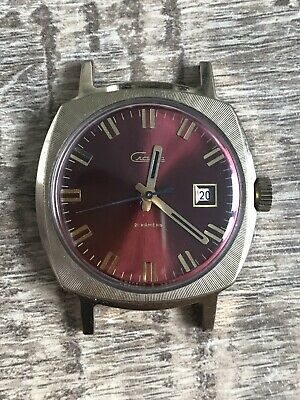 VINTAGE RUSSIAN Ussr WATCH SLAVA Rare gold plated Date