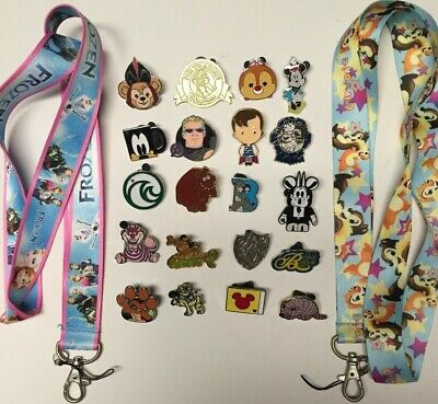 FROZEN Disney & Chip&Dale/2 lanyards & LOT of 20 Disney trading pins starter SET