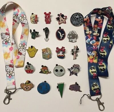 TWO lanyards-Disney Mickey & HelloKitty+ LOT 20 Disney trading pins, starter SET