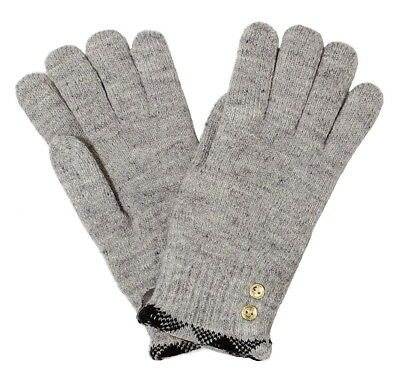 Plaid Trim Gold Buttons Double Layer Plush Lined Chenille Gloves Soft & Warm