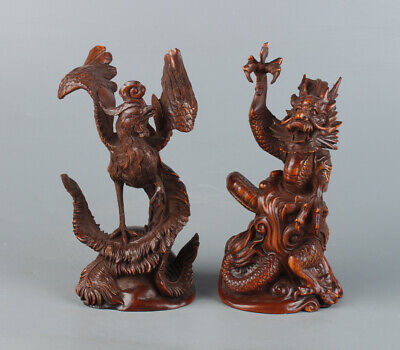 Chinese Exquisite Handmade dragon phoenix Boxwood statue A pair