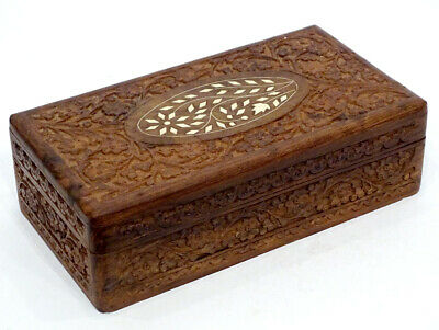 HAND CARVED Vintage BOVINE COW BONE INLAY Inlaid Wood WOODEN JEWELRY BOX