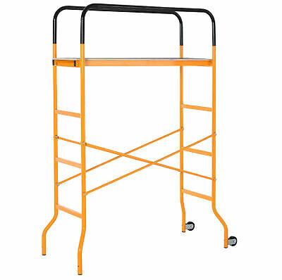 Steel Scaffold Work Platform 4-Step Ladder Indoor Decoration w/2 Wheels