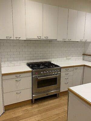 Used white kitchen cabinets, cupboards, pantry, sink, wooden benchtop