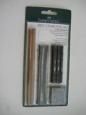 FABER-CASTELL PITT CHARCOAL SET 2 CHARCOAL Pencils, 3 Crayons, 4 Charcoal Sticks