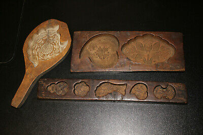 3 Antique Carved Decorative Wooden Wood Butter Asian Rice Cookie Candy Mold