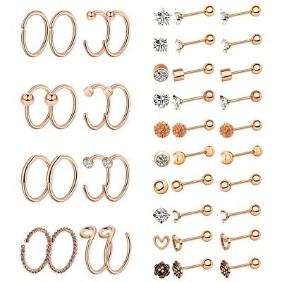36pc Stainless Steel Nose Hoop Ring Ear Stud Cartilage Earring Piercings Jewelry