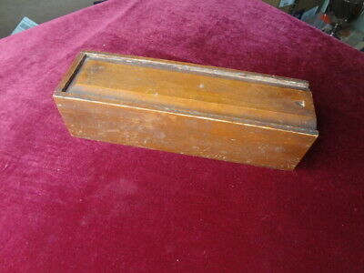 Wood Candle Box Slide Out Lid Primitive Storage Box Vintage