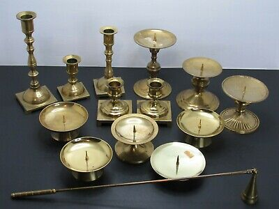 Lot Of 13 Brass Candlestick Candle Holders + Snuffer Vintage