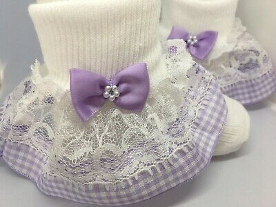Handmade lilac gingham baby/ girls frilly socks various sizes