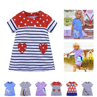 Dress Fashion Summer Cartoon Sleeve Kids Girls Matching Mini Striped 2-6 Short