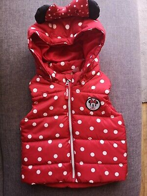 H&M 2-3 Year Disney Minnie Mouse Girl Bodywarmer Gilet Red Dots