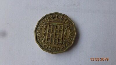 3 p penny GB Britian England British old vintage money coin threepenny bit 1953