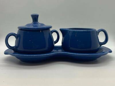Vintage - Blue Fiesta-ware Creamer and Sugar Excellent Condition