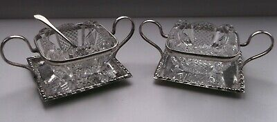 Antique Pair of Silver Plate & Cut Glass Open Salts by WALKER & HALL