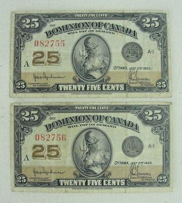 (2) Consecutive 1923 Dominion of Canada 25 Cent Notes Hyndman-Saunders