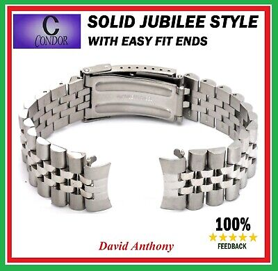 CONDOR 18mm SOLID For JUBILEE STYLE LINK WATCH BRACELET, EASY FIT CURVED ENDS