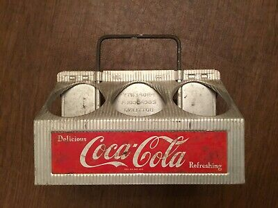Vintage 1950 Coca Cola Metal 6 Bottle Carrying Case Display