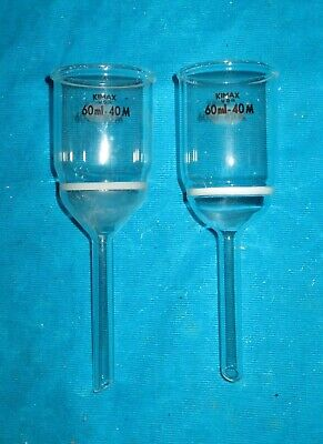 Two (2) Kimx 60ml Medium Frit Buchner Filter Funnels