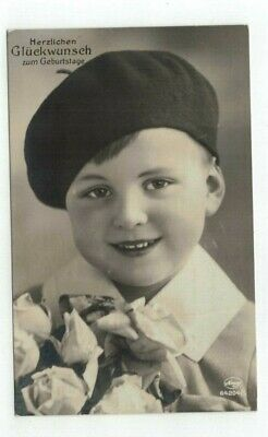 GERMANY Antique real photo rppc birthday post card Little Boy and Roses