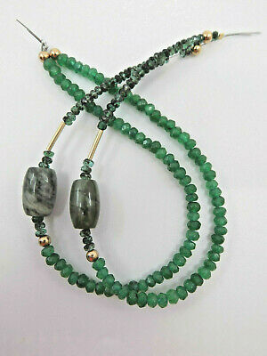 Pre-Columbian Jade and Emerald Bead Necklace, Authentic