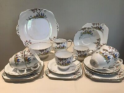 Bell China 21 Piece Tea-Set In Hand-painted Multi Colour Forest Design.