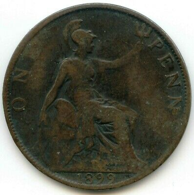 UK 1899 Bronze Penny (95% Copper) Pence Great Britain ----- EXACT COIN SHOWN