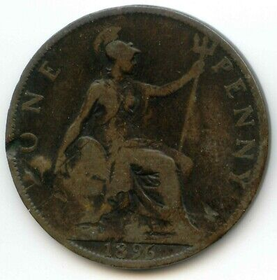 UK 1896 Bronze Penny (95% Copper) Pence Great Britain ----- EXACT COIN SHOWN