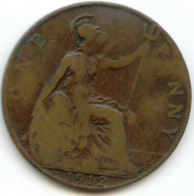 UK 1912H Bronze Penny (95% Copper) Pence Great Britain ----- EXACT COIN SHOWN