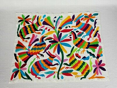 Vintage Mexican Folk Art LARGE OTOMI EMBROIDERED Wall Hanging Table Cloth Mexico