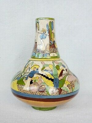 Vintage Mexican Folk Art 1930s Tlaquepaque Petatillo Pottery Vessel Vase Mexico