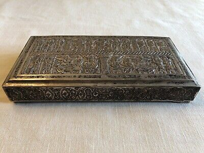 Rare Old Antique Repousse Hand Carved Silver Plate Box Chariots King & Nobleman