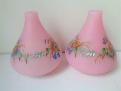 Antique Victorian PINK Opaque Glass Hand Painted Flower Bud Vases Candle Holders