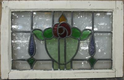"OLD ENGLISH LEADED STAINED GLASS WINDOW Colorful Floral Design 21.75"" x 14"""