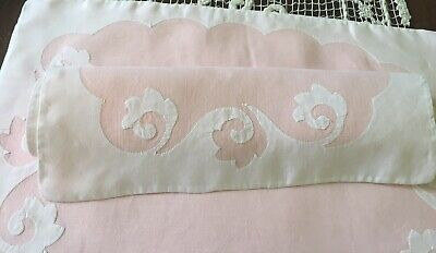 Vintage Linen Placemats Pink White Scrolls - Set Of 6