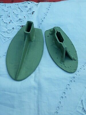 Vintage Cast Iron Shoe Last X2 painted in willow green
