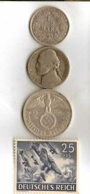 #-10-)-*rare WWII-*German Stamp + *US and  *German  SILVER  EAGLE  coins