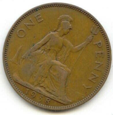 UK 1938 Bronze Penny (95.5% Copper) Pence Great Britain ----- EXACT COIN SHOWN