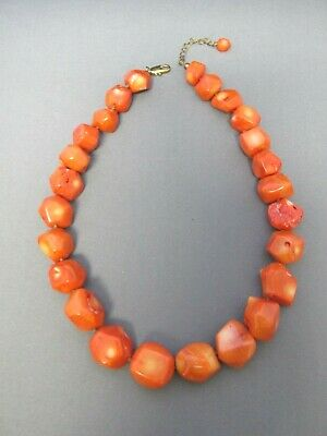Vintage Sterling Chunky Nugget Red Branch Coral Adjustable Necklace