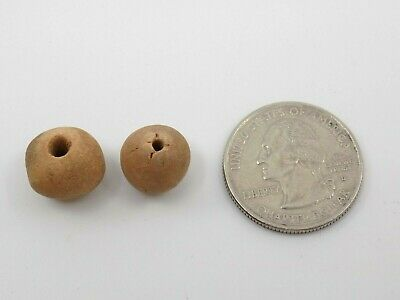 Pre-Columbian Clay Round Beads, Pair, South America