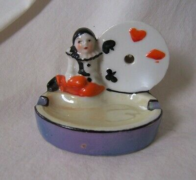 Vintage Porcelain ASHTRAY Playing Card Suits Pierrot Harlequin Clown Mime JAPAN