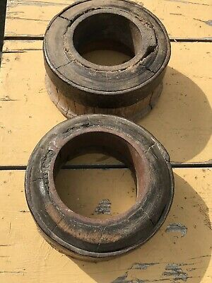 Horse & Cart Carriage 18th/19th Century Pair Cast Iron & Wood Wheel Middles/Caps
